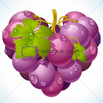 Bunch of grapes in the shape of heart