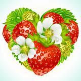 Vector strawberries in the shape of heart