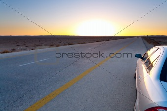 late blue-yellow sunset in desert