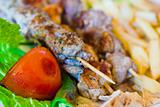skewers mix arabic kebab close up