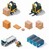 Vector warehouse equipment icon set