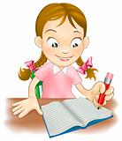 Young girl writing in a book