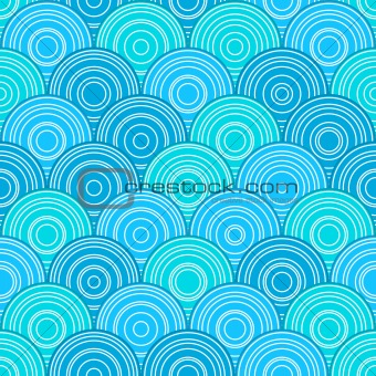 Blue Seamless Pattern with Circles in Line. Vector Illustration