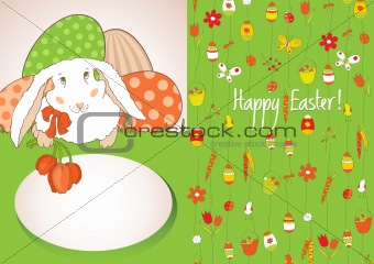 Green card with Easter eggs