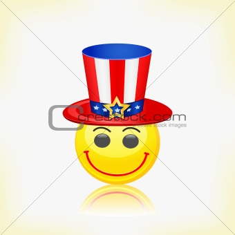 Yellow Round Smiley Face Wearing American Hat. Vector Illustration on 4th July