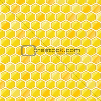 Yellow Seamless Pattern with Honeycombs on White Backdrop. Vector EPS8 Illustration.