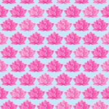 Pink Lotus Flower Seamless Pattern. Floral Texture on Light Blue Background
