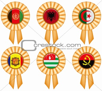 Award ribbons with national flags