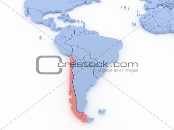 Three-dimensional map of Chile isolated on background. 3d