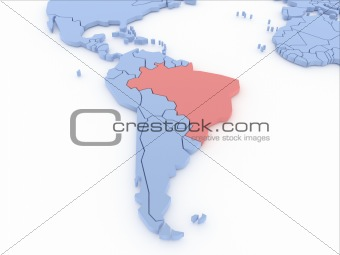 Three-dimensional map of Brasil isolated on background. 3d