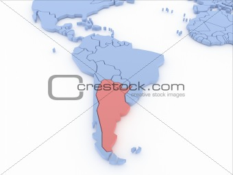 Three-dimensional map of Argentina isolated on background. 3d