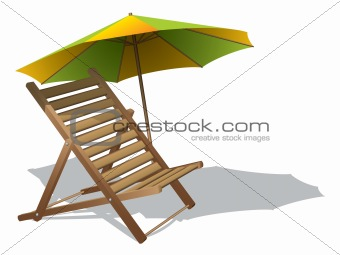 Beach chair with umbrella