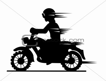 motorcyclist silhouette on white background, vector illustration
