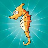 Funny cartoon seahorse