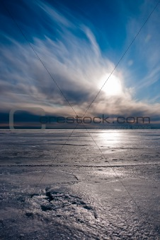 Beautiful cloudy sky over ice