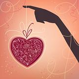 Vector background with hand and heart. Valentine&#39;s day card 