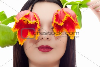 The face of the young girl with tulips instead of eyes
