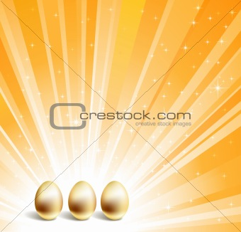 Gold eggs and yellow star background