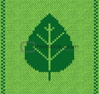 Style leaf seamless green knitted pattern