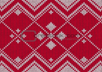 Style seamless red and white knitted pattern