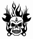 Skull with Mechanics Wrench and Flames