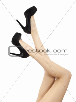 long  and sexy woman legs isolated on white background