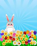Easter Bunny with Spring Flowers Illustration