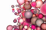 3d render strings of floating balls in multiple glossy pink red 