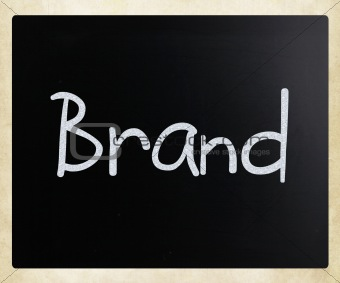 """Brand"" handwritten with white chalk on a blackboard"