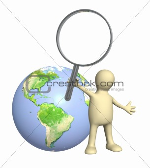 3d puppet with magnifier and Earth