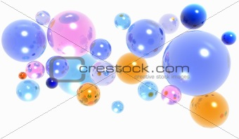 3d glass balls or spheres