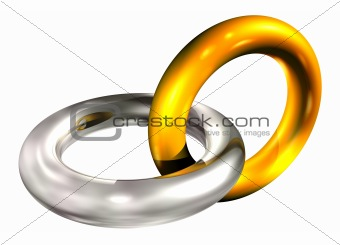 gold and silver rings in chain