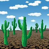 vector cactuses in dry desert