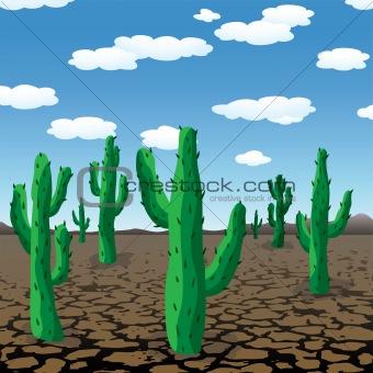 vector cactuses in dry desert
