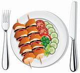 vector grilled chicken, vegetables on the plate, fork and knife