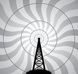 vector radio tower and air waves