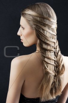 long hair and fashion hairstyle, she looks at left