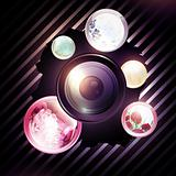 camera lens with floral round shapes