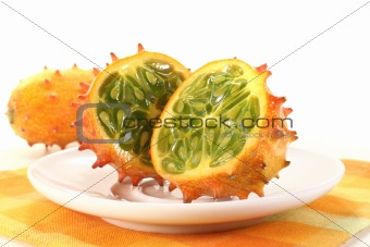 Kiwano on a plate