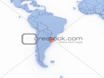 Three-dimensional map of Uruguay isolated on background. 3d
