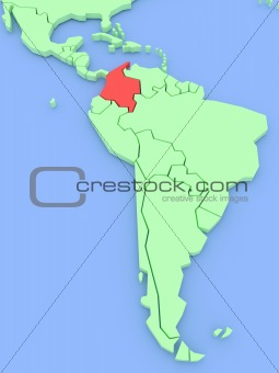 Three-dimensional map of Colombia isolated on background. 3d