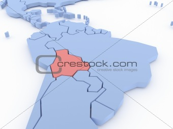 Three-dimensional map of Bolivia isolated on background. 3d