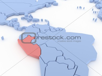 Three-dimensional map of Peru isolated on background. 3d