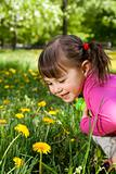 A smiling girl wearing a pink shirt, sitting on the dandelion f