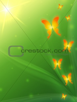 green background with butterflys
