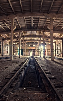 inside an abandoned depot