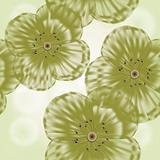 Grunge seamless spring floral background in green