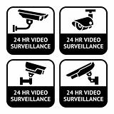 CCTV labels, video surveillance, set symbol security camera pictogram