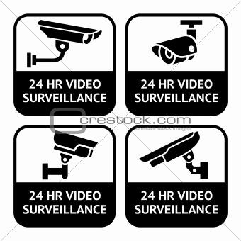 CCTV labels, video surveillance, set symbol security camera pictogram