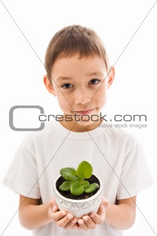 boy holding flower